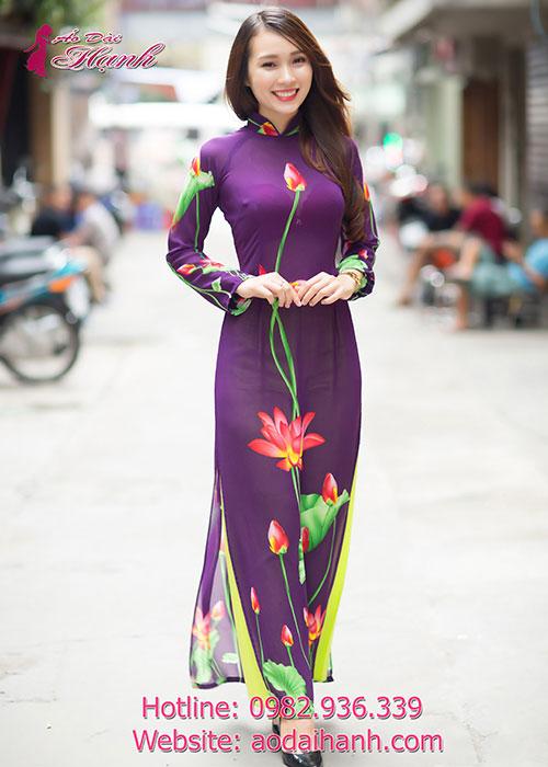 Áo dài tím huế voan hoa sen cổ truyền thống tay dài