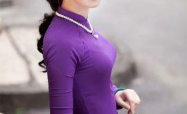 Áo dài màu tím mang hồn cốt áo dài VN