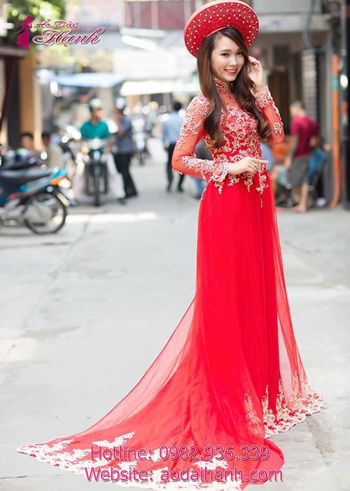 Áo dài cưới màu đỏ cho cô dâu đang hot